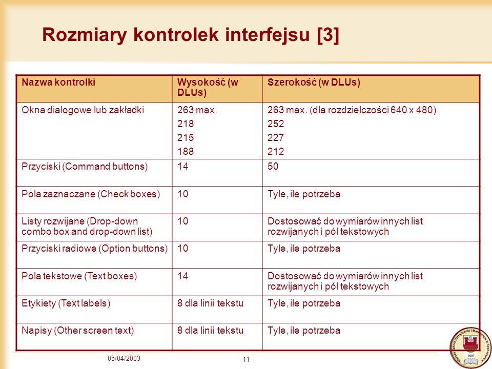 Rozmiary kontrolek interfejsu [3]